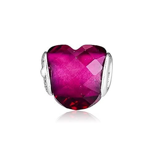 LIIHVYI Pandora Charms para Mujeres Cuentas Plata De Ley 925 Joyas Forma De Amor Fucsia Perles Abalorios F Compatible con Pulseras Europeos Collars