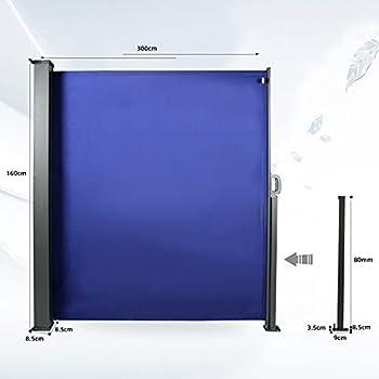 CCLIFE Paravent Extérieur Auvent rétractable Rétractable Auvent Store Latéral Enroulable Store latéral pour Balcon TÜV Auvent Store latéral Rétractable, Couleur:Bleu, Size:160x300cm