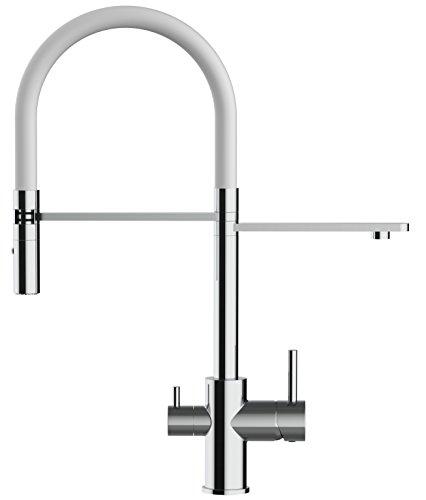 VIZIO rubinetto tre vie miscelatore lavello fontana cucina moderno molla estensibile e doccia estraibile per tutti i sistemi di filtraggio acqua (Bianco)