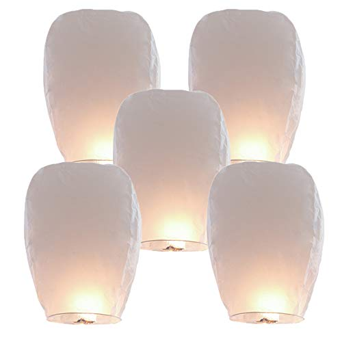 Sky Lanterns 5 Pack White
