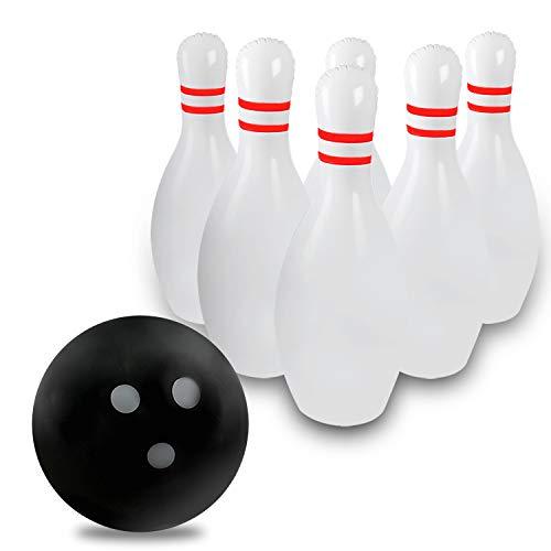 Novelty Place Aufblasbares Riesen-Bowling-Set Kinder, EIN 14-Zoll-Ball mit sechs 22-Zoll-Stiften
