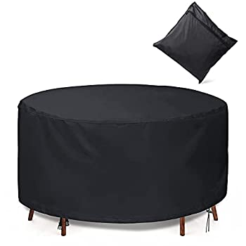 GORDITA Patio Furniture Set Covers Round Waterproof UV Resistant Anti-Fading Patio Table and Chairs Cover Outdoor Dining Table Cover with Windproof Buckle Straps - 420D 72 x 26 Black