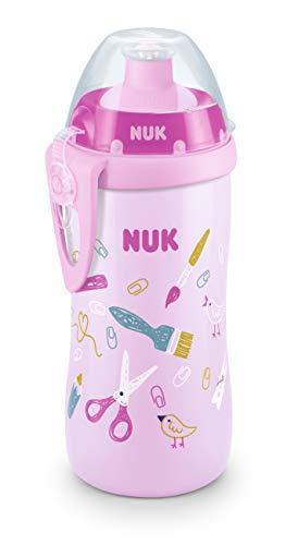 NUK 10255564 - Taza infantil con boquilla de empuje (300 ml, a partir de 36 meses, a prueba de fugas, con clip, sin BPA, 1 unidad), color rosa