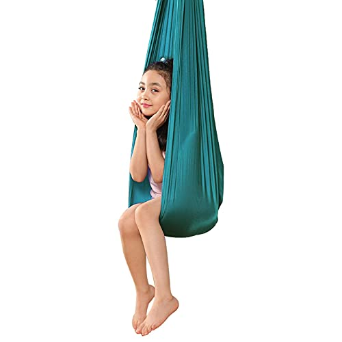 KTDT Columpio sensorial Columpio de Tela de Yoga aéreo para Interiores para Adultos Columpio para acurrucarse Hamaca con Necesidades Especiales para Aspergers e integración sensorial (Color: Verd