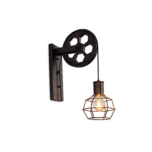 LAANCOO Antique iron pulley solid wood wall lamp kit industrial art bar wall lamp