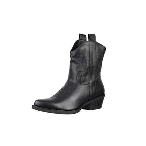 Elara Damen Stiefeletten Cowboy Boots Chunkyrayan BM358 Black-39