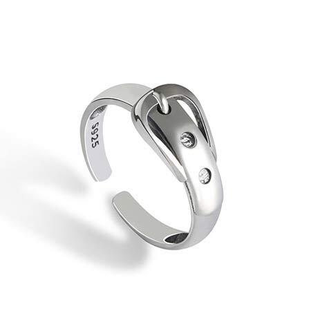 RRomaS Anillo de Mujer Plata de Ley 925, tamaño pequeño,Talla Ajustable Entre 6.5-7.5 con diametro de 16 mm,con Forma de Cinturon,Incluye Paño Limpia Metales y Bonita Caja para Regalo