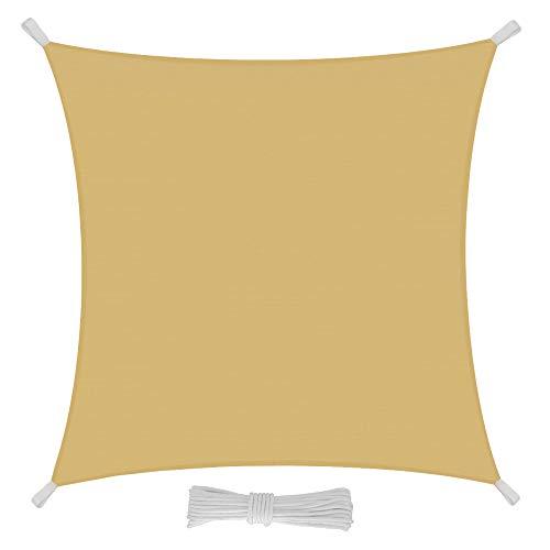 EGLEMTEK Tenda Parasole Quadrata a Vela Telo da Sole da Esterno - Protezione dai Raggi UV - Tessuto in Polietilene Resistente e Impermeabile - Colore Sabbia