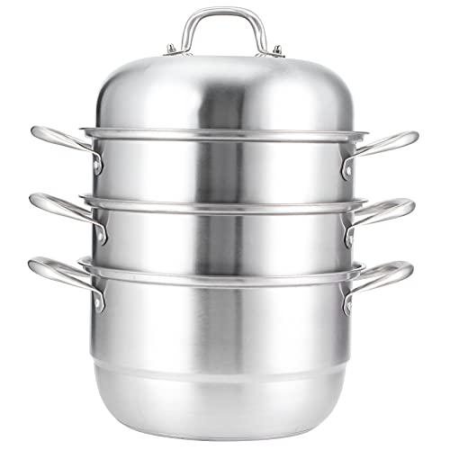 DFKEA Cottura a Vapore pentola a Vapore in Acciaio Inox Laminato a 3 Livelli con Fornitura Cucina Coperchio