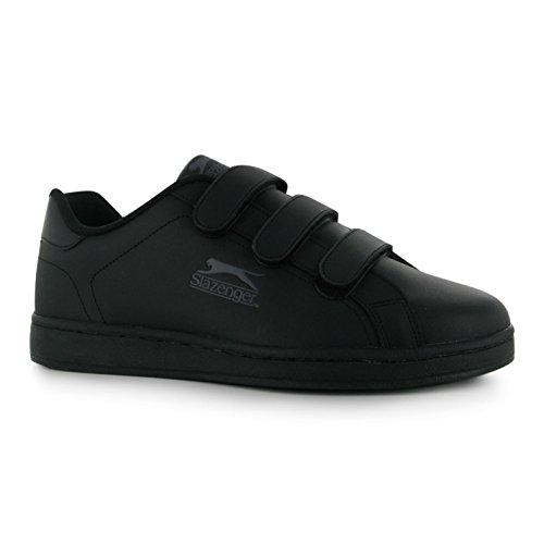 Slazenger Herren Ash Vel Sneaker mit Klettverschluss, leger, - Schwarz/Charcoal - Größe: 41 1/3 EU