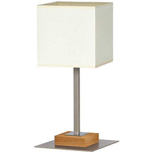 Elegante Tischleuchte in Buche Beige Bauhaus Design 1x E27 bis zu 60 Watt 230V aus gewebten Stoff &...