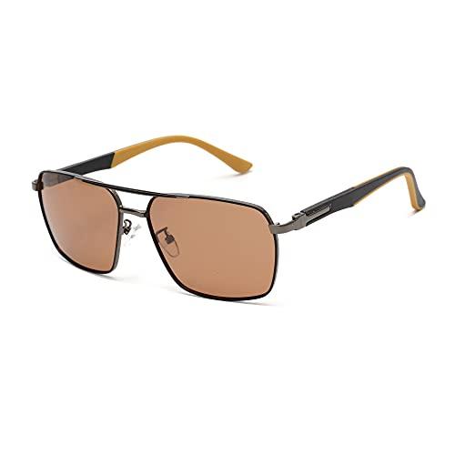 GLINDAR Gafas de Sol Cuadradas Clásicas para Hombre, Lentes Polarizadas, Marco de Metal con Bisagra de Resorte Marrón