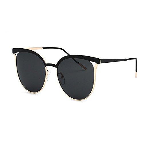 Belleashy Gafas de sol polarizadas para mujer, gafas de sol polarizadas para mujer, marco redondo, conducción, día festivo, protección para viajes, uso diario (color: negro)