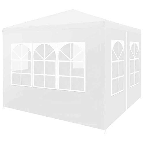 EBTOOLS - Carpa de jardín con 4 lados (3 x 3 m, marco de acero duradero, resistente a los rayos UV y al agua, tienda de recepción, para jardín, terraza, patio, color blanco