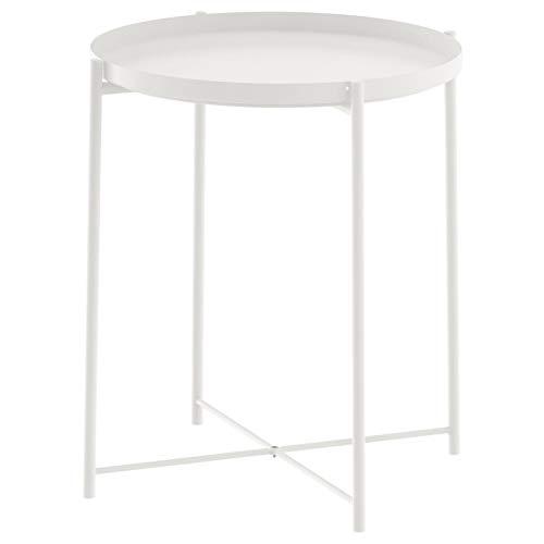 Unbekannt Ikea Beistelltisch Gladom Metall-Tisch mit Abnehmbaren Tablett - weiß - 52,5cm Hoch - 44,5cm Durchmesser