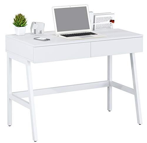 SixBros. Schreibtisch, Bürotisch für Büro und Home Office, Computerschreibtisch weiß,100 x 55 cm, CT-3534A/2184