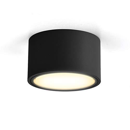 OPPER LED Aufputzleuchte Deckenleuchte flach mit LED GX53 230V 6W warmweiß 3000K,Decken Aufbauspot Ø95x55mm schwarz rund