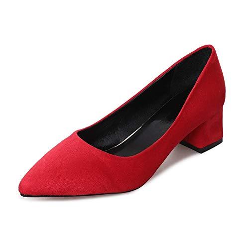 VIVIOO Zapatos de Mujer trabajadora 5cm Bloque Medio Tacones Altos Clásico Punta Estrecha Resbalón Superficial en Rosa Rojo Negro Gris Zapatos