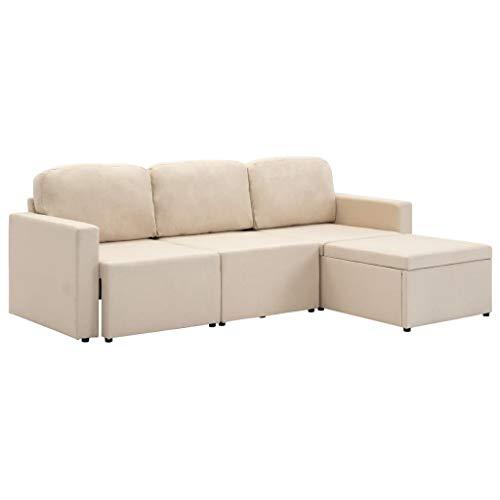 UnfadeMemory Sofá Cama de Salon,Sofá 3 Plazas con Cojines,Muebles de Hogar,Patas de Plástico,216x149x72cm (Tela Crema)