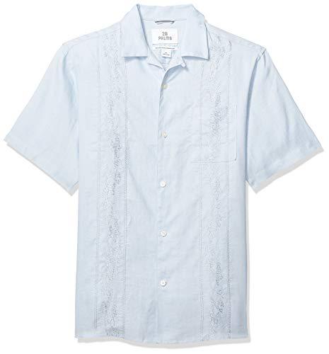 Marca Amazon - 28 Palms – Camisa guayabera bordada de