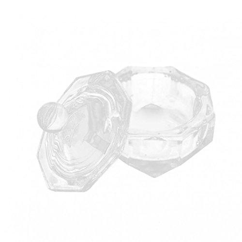 Nail art clair un Vaisselle Tasse avec couvercle pour acrylique liquide Poudre Styling Outil de beauté