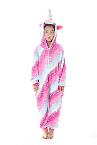 Kenmont Einhorn Kinder Unisex Pyjamas Karneval Halloween Tier Schlafanzug mit Kapuze Nachtwäsche Tierkostüme Cosplay Kostüm (Blue, Größe 125 (Höhe 140-150cm))