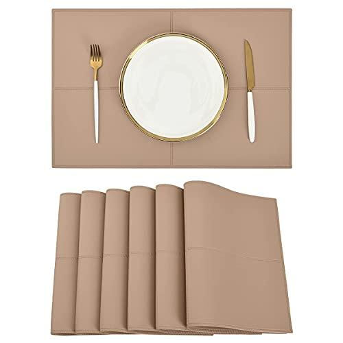 Conjunto de placas de cuero de piel sintética azules reversibles de 6 tapetes de mesa antideslizantes Lavable a prueba de agua para la mesa de comedor de cocina Dirgee (Color : Pink)