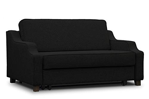 ES Design 08 Slaapbank uittrekbaar ligvlak 160x200 cm 5 jaar garantie Beige Melange Bruin Grijs Zwart houten poten 160 x 200 cm zwart