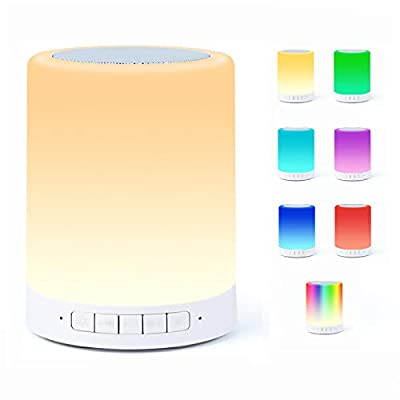Bluetooth Speaker Lamp, Smart Touch Night Light with Bluetooth Music Speaker, Dimmable 7 Color Changing RGB Bedside Lamp for Bedroom, Portable Speakers with Mood Light, Best Gifts for Women, Kids from Welcam