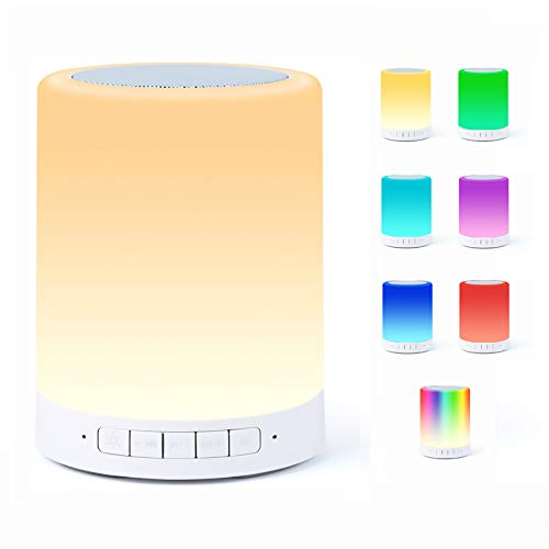 Bluetooth Speaker Lamp, Smart Touch Night Light with Bluetooth Music Speaker, Dimmable 7 Color Changing RGB Bedside Lamp for Bedroom, Portable Speakers with Mood Light, Best Gifts for Women, Kids