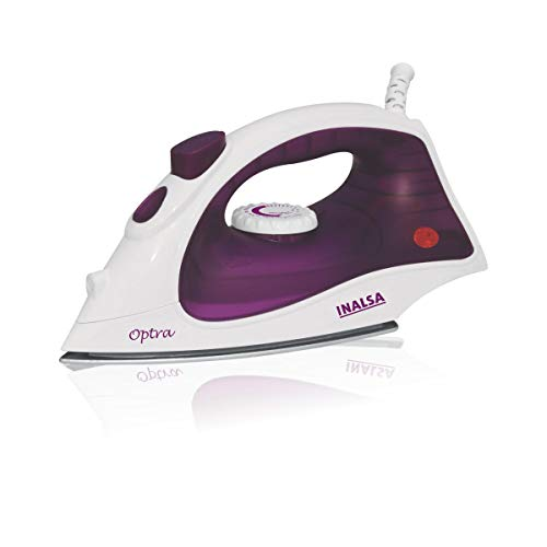 INALSA Steam Iron Optra-1400W with 18g/min Continuous Steam & Ceramic Coated Soleplate | Spray Function, 150ml Water-Tank Capacity, (White/Purple)