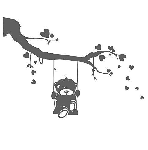 Kids 154 Schablone Teddybär auf Ast, wiederverwendbar, A3, A4, A5 und größere Größen, für Kinderzimmer, selbstklebend, Schablone, S size - 70 x 100 cm, 27.6 x 39.4 in