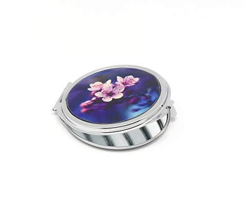 Espejo de resina SAKURA Japón flor de cerezo azul rosa púrpura metal