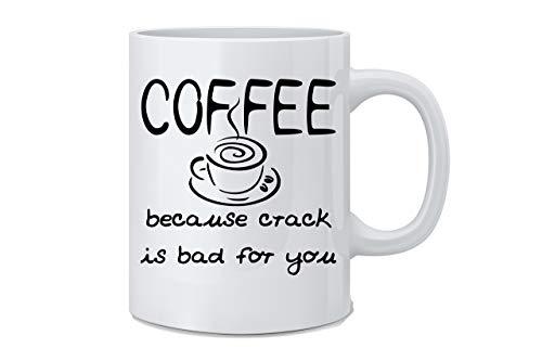 Crèmemok, koffie omdat crack slecht voor je is grappige koffiemok geweldig nieuwigheidscadeau voor vrouw, echtgenoot, moeder, vader, medewerker, baas en vrienden