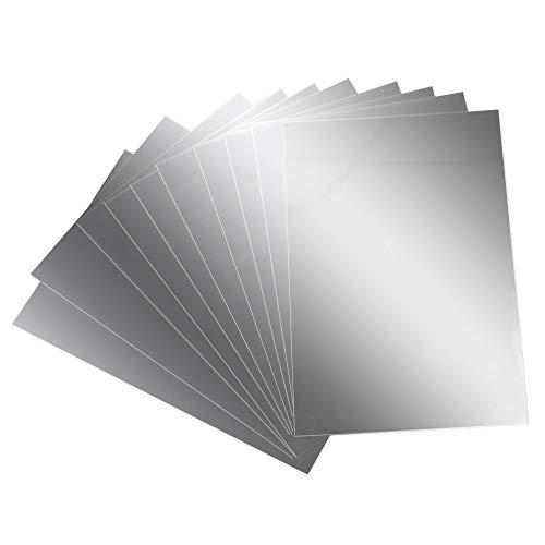 AILANDA Espejos de Pared Autoadhesivo 10 pcs Espejos de plástico láminas Flexibles con Efecto Espejo Anti caída 15 x 10cm para Dormitorio baño Escuela