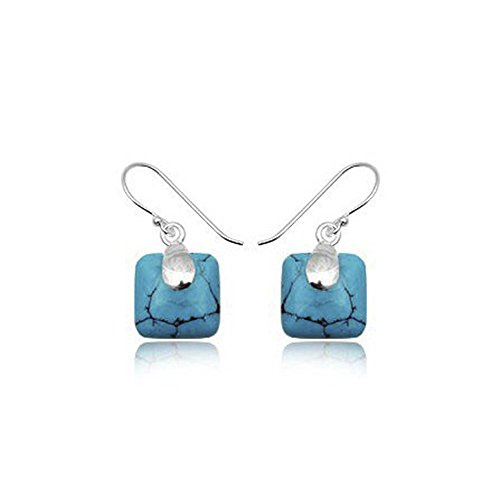 Unusual BLUE Synthetic Turquoise Square Sterling Silver Dangly Drop Hook Earrings - Leaf Earrings Design