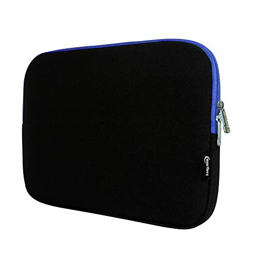 Emartbuy Asus C100PA Chromebook Flip 10.1 Inch/Asus C101PA Chromebook Flip 10.1 Inch Black/Blue Water Resistant Neoprene Soft Zip Case Cover Sleeve With Blue Interior & Zip