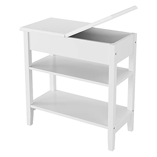 End Table with Storage, Flip Top Side Table with Shelves, Bedroom Nightstand Sofa Table, Narrow File Cabinet for Home Office, Ivory White