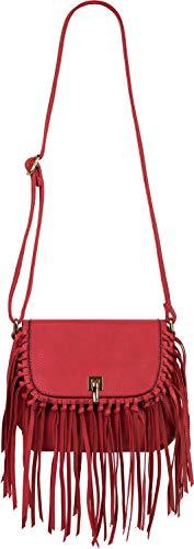 styleBREAKER Damen Umhängetasche mit Fransen und Steckverschluss, Schultertasche, Fringe Bag, Crossbody Bag 02012300, Farbe:Rot