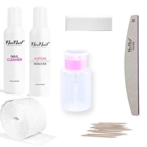 NeoNail Zusatz-Kit Cleaner Aceton Nagelfeile Zelletten Pumpflasche Ergänzungsset Zubehör