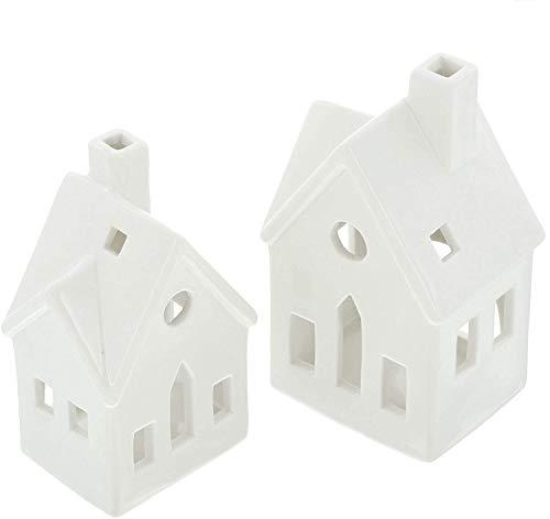 khevga Weihnachtsdekoration Teelichthäuser aus Keramik 2er Set in weiß