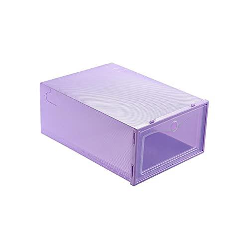 12-24pcs caja de zapatos Set plegable de almacenamiento de plástico transparente puerta casera armario organizador estante estante estante exhibición entrega US 24 piezas, púrpura, Estados Unidos