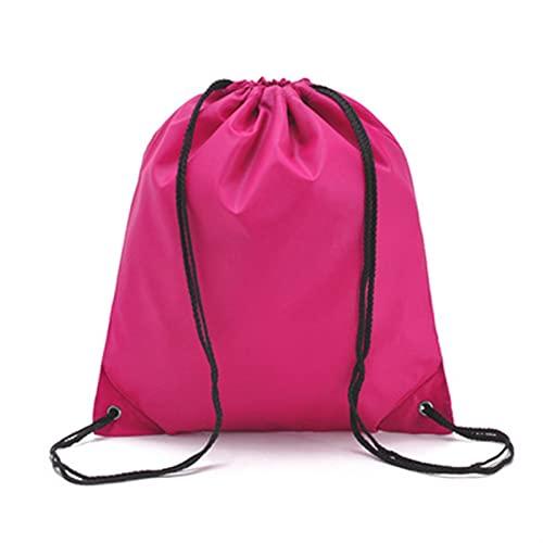 ZZDH Bolsas Gimnasia Cuerda Bolsa de Almacenamiento de Mochila Unisex y cordón Portátil de Color sólido para el Deporte de la Escuela Viajes Mujeres Hombres Bolsas (Color : Rose Red)