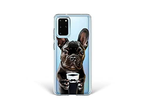 Bonito-store Clear Silicone Cases for Samsung Galaxy S20 FE Cute Dog S10e Mustache Case French Bulldog Phone Cover S21 Plus Frenchie Note 8 9 10 Lite 20 Ultra Coffee Mug S8 S9 + S10 Compatible BN26