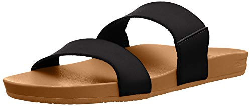 Reef Women's Sandals Cushion Vista | Vegan Leather Slides for Women with Cushion Footbed | Black/Natural | Size 10