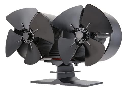 Gohantee, ventilatore a stufa a legna a 8 lame, a doppia testa, alimentato a calore, mini camino, forno con temometro per stufa, colore: nero per bruciatori a legna/caminetto
