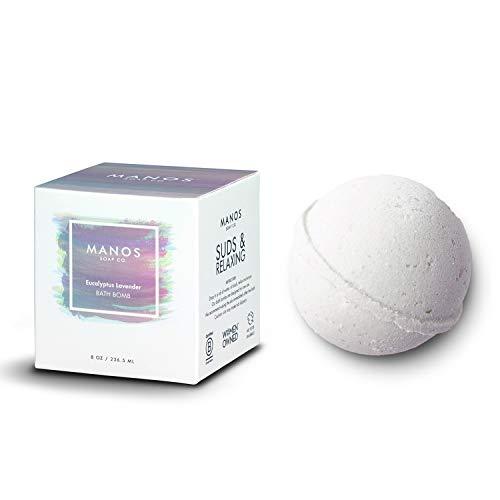 Eucalyptus Lavender Bath Bombs – Large Epsom Salt Bath Bomb for Women, Men, Kids 8.00 oz Natural Shower Bombs – Fizzies by Manos Soap Co.