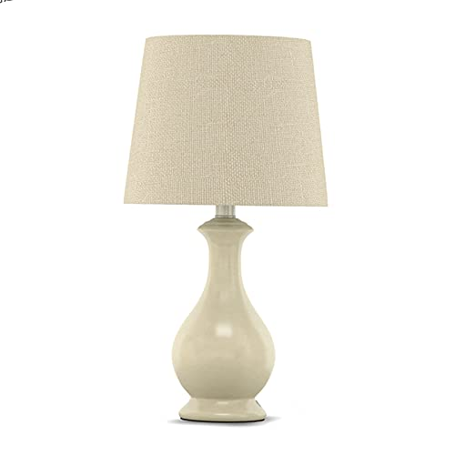 Lámpara para mesita Lámparas de mesa de noche Lámpara de testa de noche de cerámica rústica blanca con tela de tela de lino Shade para sala de estar Dormitorio Mesa de centro, E27, interruptor de botó