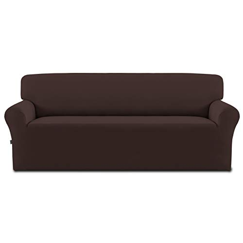Easy-Going Fleece Stretch Sofa Slipcover – Spandex Non-Slip Soft Couch Sofa Cover, Washable Furniture Protector with Anti-Skid Foam and Elastic Bottom for Kids, Pets(Sofa,Chocolate)