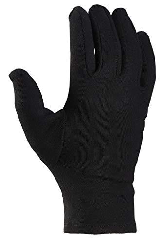 12 Paar Baumwollhandschuhe, Trikothandschuhe, Stoffhandschuhe schwarz mit Schichteln - 8 / M (Damen Standard)
